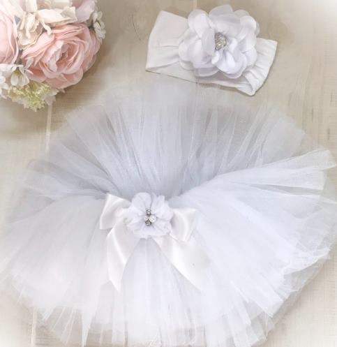 Fancy White Newborn Tutu and Headband Set