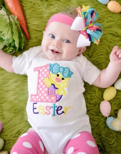 1st Easter Chick Colorful Bodysuit