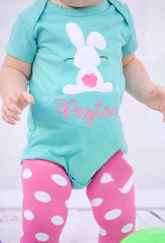 Turquoise & Hot Pink Personalized Bunny Bodysuit