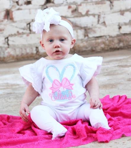 Personalized Floral Bunny Flutter Sleeve Bodysuit