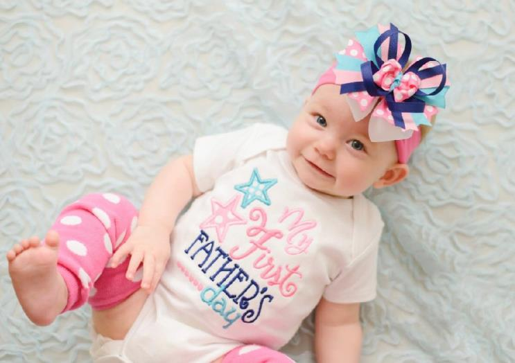 Girls Pink My First Father's Day Bodysuit