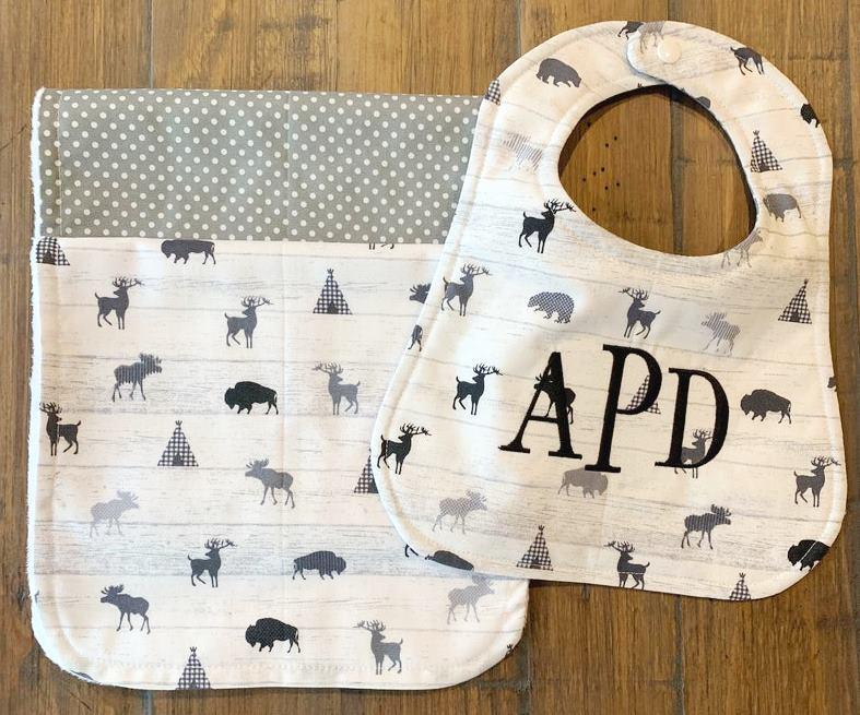 Baby Boy Personalized Winter Animals Bib & Burp Cloth Gift Set