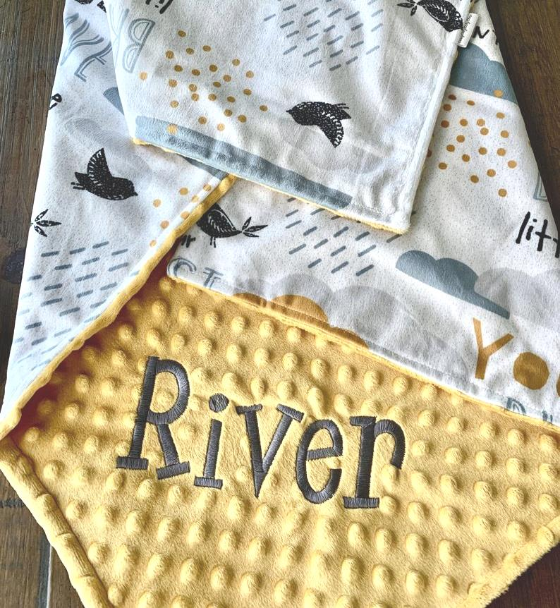 Baby Boys Brave Adventurer Personalized Gold Minky Blanket