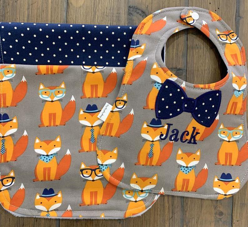 Baby Boy Personalized Foxes Bow Tie Bib & Burp Cloth Gift Set