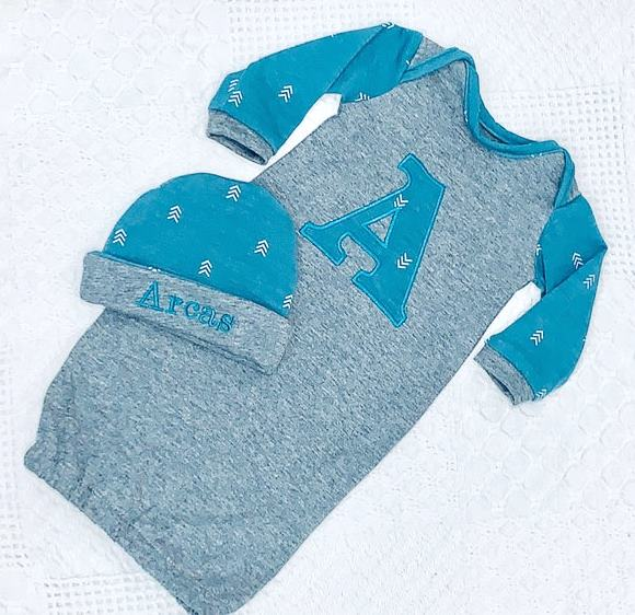 Boys Personalized Newborn Woodland Gown with Matching Hat