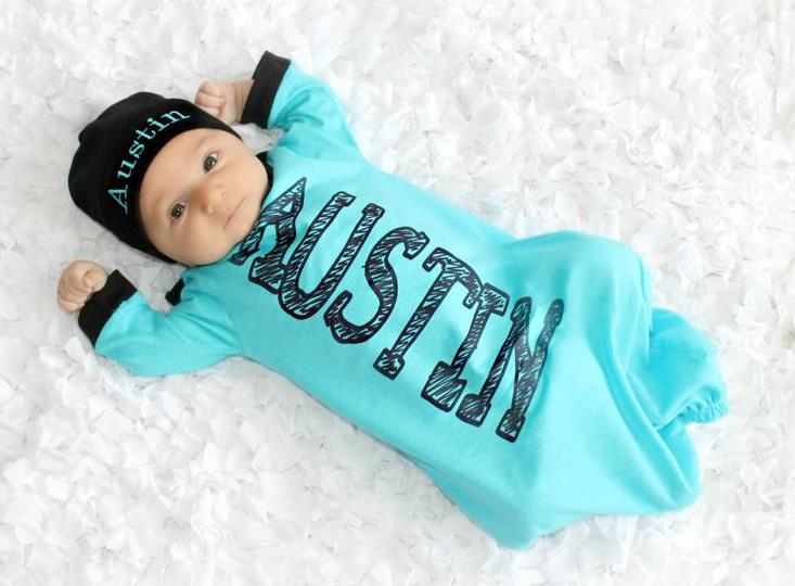 Boys Turquoise & Black Personalized Newborn Gown with Matching Hat
