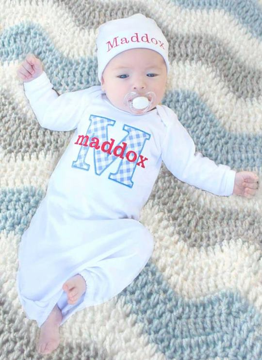 Boys Blue & Red Personalized Newborn Gown with Matching Hat