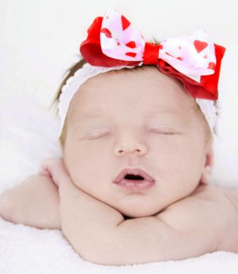 Baby's First Valentine's Day Red Hearts Lace Headband