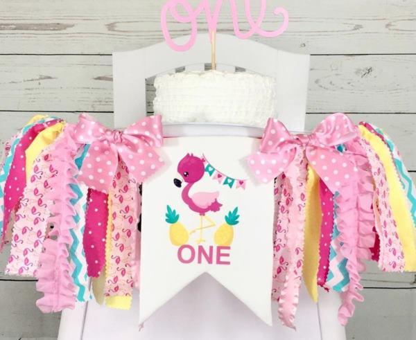 Flamingo Pineapple Luau 1st Birthday High Chair Banner