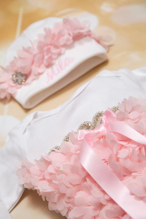 Newborn Baby Girl Ruffle Petal Chiffon Rhinestone Take Home Hospital Gown