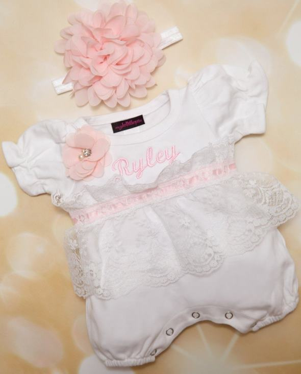 Personalized White and Pink Lace Bubble Romper with Flowers and Matching Headband