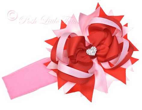 Diva Sparkle Hearts Valentine Over the Top Hair Bow Headband-red, pink, valentines, valentine's, day, love, heart, bling, rhinestone