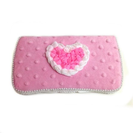 Baby Pink Minky Heart Baby Wipes Case