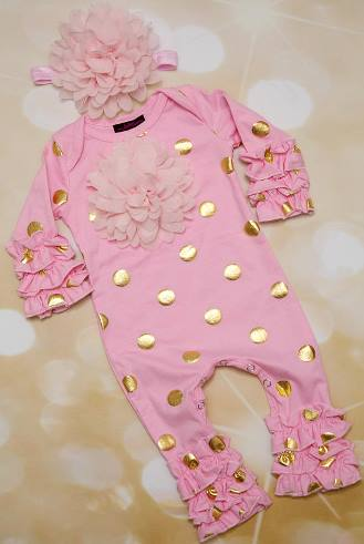 72ca58d1001f Pink and Gold Polka Dot Infant Layette Baby Romper and Headband Outfit Set
