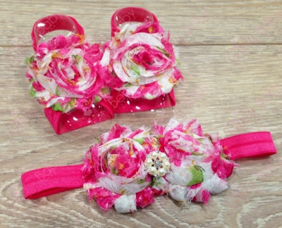Hot Pink Floral Flower Sandals & Headband Set