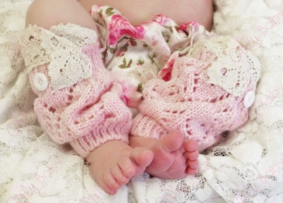 Baby Girls Pink & Cream Vintage Lace Leg Warmers
