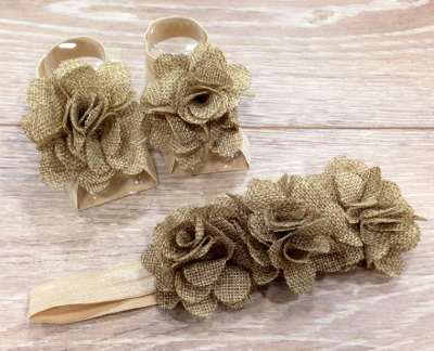 Burlap Barefoot Sandals & Flower Headband Set