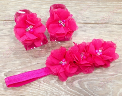 Hot Pink Flower Sandals & Headband Set