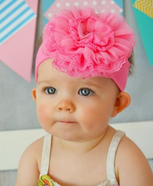 Baby Girls Hot Pink Lace Flower Headband