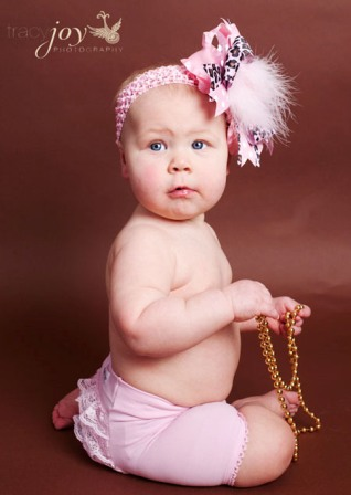 Glamour Pink Cheetah Feather Baby Headband