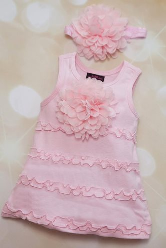 Light Pink Sleeveless Ruffle Flower Dress with Matching Headband