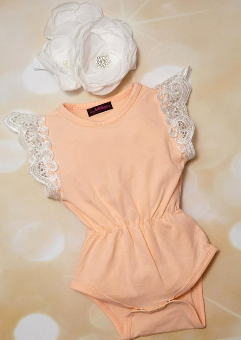 Peach Cotton Lace Sleeves Romper Outfit with Matching Flower Headband $29.00