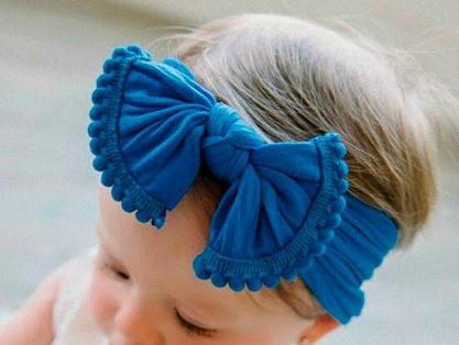 Nylon Knot Pom Pom Messy Bow Headwrap Headband