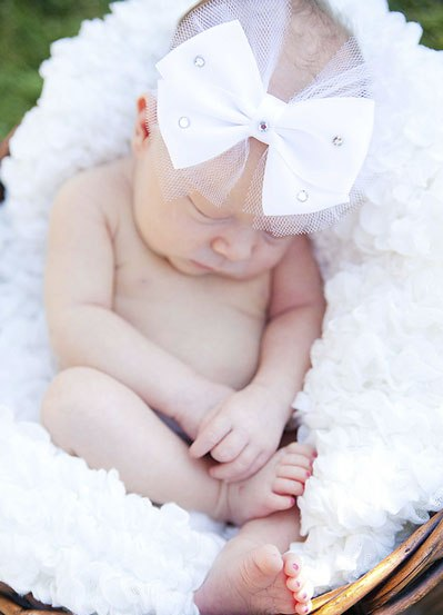 White Sparkle Classic Luxury Infant Satin Headband
