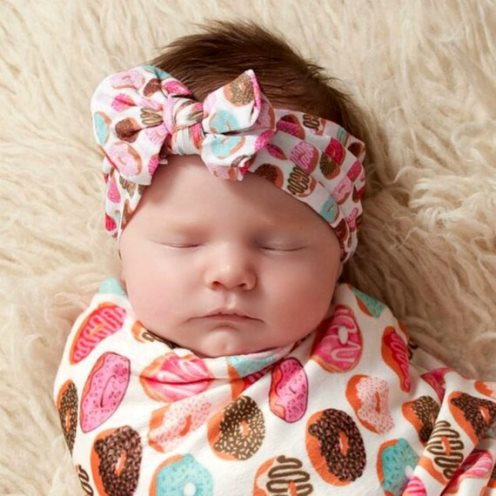 Printed Nylon Messy Bow Headwrap Headband