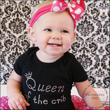 Queen of the Crib Rhinestone Bling Top