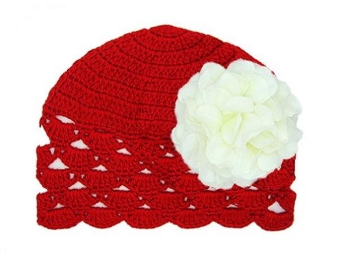 Bright Red and White Newborn Shell Beanie Hat