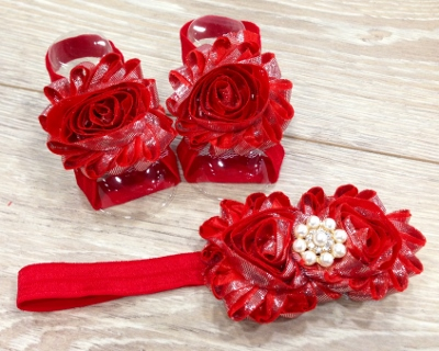 Red Shimmer Sandals & Flower Headband Set