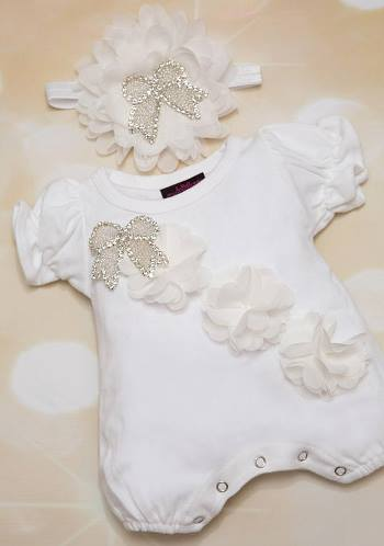 White Bubble Flower Romper with Rhinestone Ribbon and Matching Headband Outfit Set