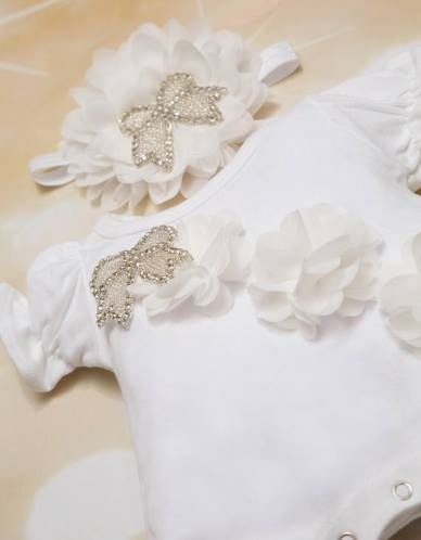 78d7775f8 Baby Girls White Bubble Flower Romper with Rhinestone Ribbon and ...