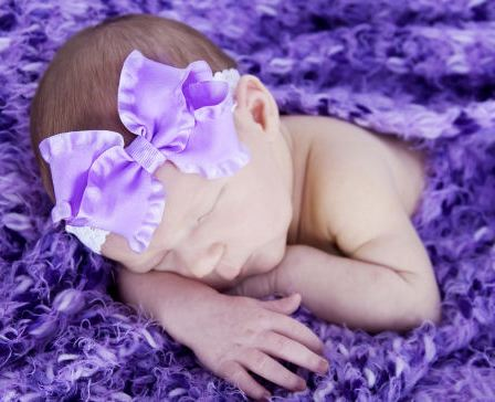 Bitty Baby Double Ruffle Ribbon Lace Headband-purple, double ruffle, infant, baby girl boutique hairbow headband