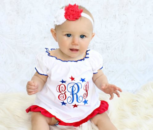4th of July Monogrammed Ruffle Dress