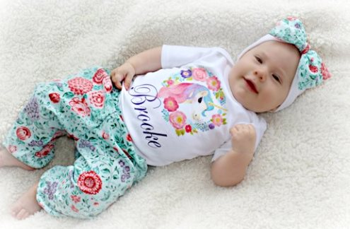 Baby Girls Personalized Unicorn Onesie Pants Outfit Set with Matching Headband