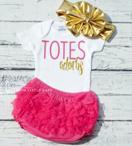 Totes Adorbs Hot Pink and Gold Glitter Bodysuit Onesie