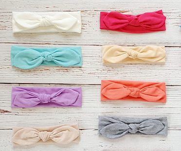 Jersey Knit Top Knot Bow Headwrap Headband