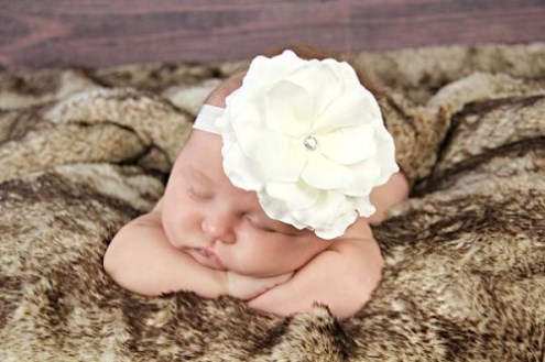White Flowerette Burst Headband with White Rose