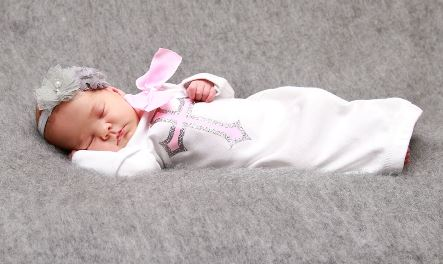 Pink & Silver Sparkle Christening Layette Infant Gown