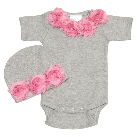 Shabby Chic Pink Rose Baby Romper Set