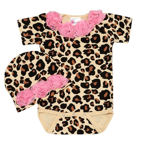 Baby Love Cheetah Rose Baby Romper Set